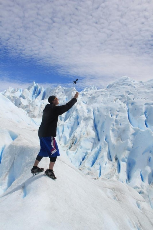 This is a picture of me raging the Kendom while I was in Chile on one of their last remaining glaciers